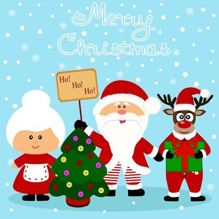 Christmas card. Funny postcard with Santa Claus, Mrs. Santa Claus and Christmas reindeer. Vector Illustration.