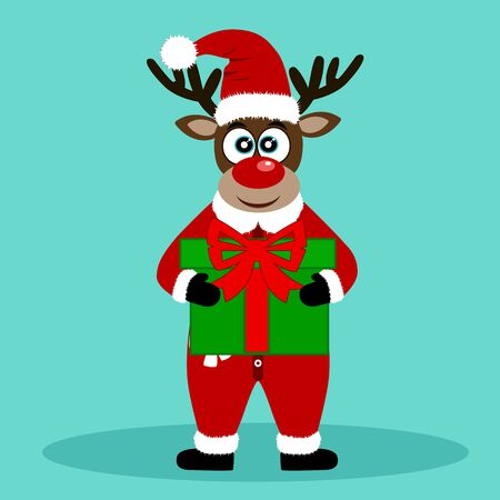 Christmas Reindeer. Christmas card. Funny reindeer with a gift. Merry Christmas. Vector illustration. Фото со стока - 133714809