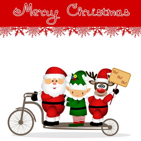 Christmas card. Santa Claus, elf and Christmas reindeer on a bicycle. Funny postcard with Santa, Christmas reindeer and elf. Vector Illustration Иллюстрация