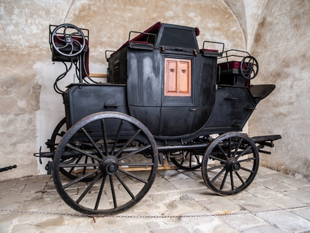 Ancient black wagon  Czech Republic