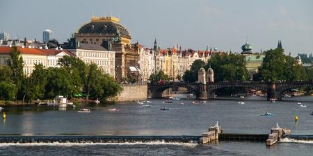 National Theatre and Vltava River  Prague, Czech Republic  photo