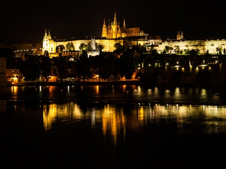 Hradcany castle at night  Prague, Czech Republic  photo