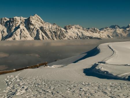 inversion: Inversion in winter Alps  Austria