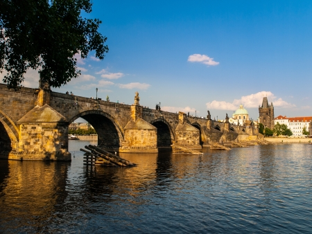 Charles Bridge and Old Town Bridge Tower in Prague  Czech Republic  photo