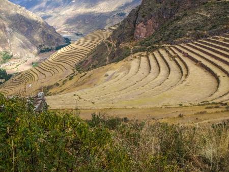 urubamba valley: Terraces of Pisac in Urubamba valley near Cusco  Peru  Stock Photo