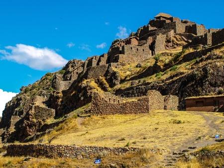 urubamba valley: Ruins of Pisac in Urubamba valley near Cusco  Peru