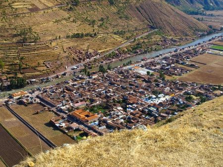 terracing: Pisac village near Cusco  Peru