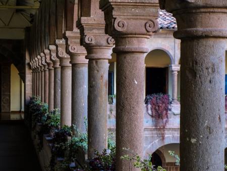 center hall colonial: Columns in Koricancha countryard  Cusco, Peru