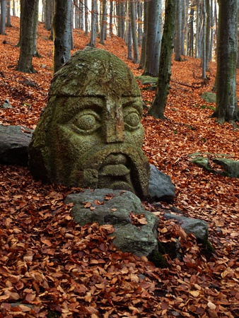 granit: Statue of knight in autumn forrest on czech holy mountain Blanik