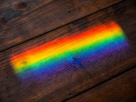 refraction: Refraction effect on the wooden floor Stock Photo
