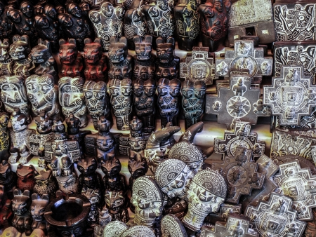 fertility goddess: Small carved statues in witch market (La Paz, Bolivia)