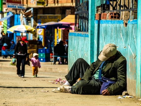 Homeless man in El Alto (La Paz, Bolivia)