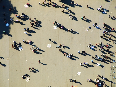view from the above: People under Eiffel tower (Paris, France)