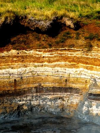アイスランドの地熱地域における堆積層 写真素材