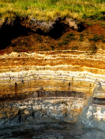 stratification: Sedimentary layers in geothermal area in Iceland Stock Photo