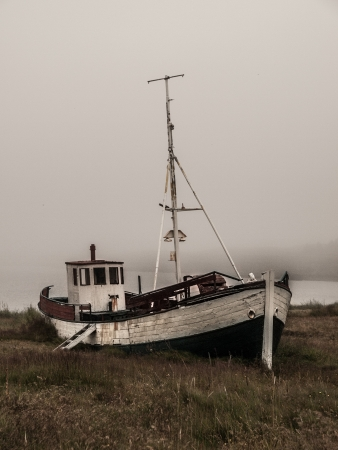 Old boat in the grass (Iceland) photo