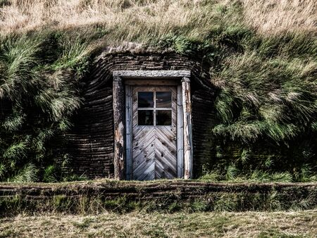 Welcome to our icelandic grass house Stock Photo - 21264910