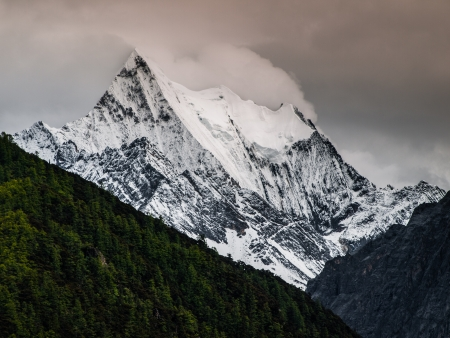 chinese holly: One of three holy mountains of Yading nature reserve (Sichuan, China)