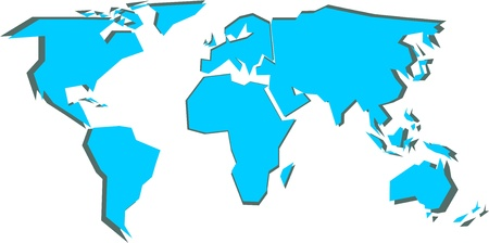 simplified: Simplified world map (vector illustration)