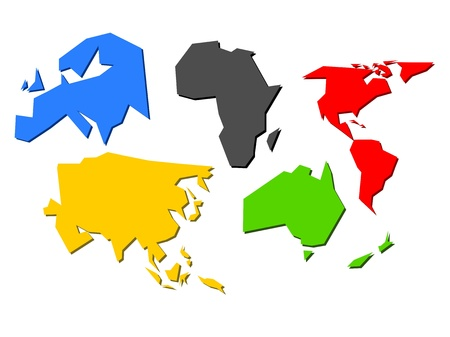 african solidarity: Continents colored as sports competition flag
