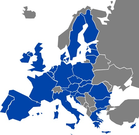 Map of Europe with marked EU members (vector illustration)