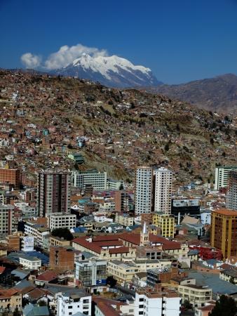 bolivia: Modern city centre of La Paz with Illimani mountain (Bolivia)