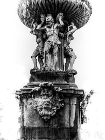 budejovice: Detail Samson fountain in Ceske Budejovice (Czech Republic)