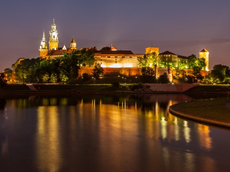 Wawel castle and Vistula river at night (Krakow, Poland)