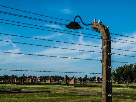 birkenau: Barb wires and lamp in Birkenau (Poland)