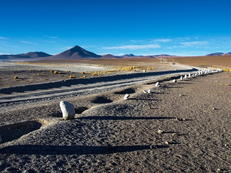 Gravel road on Altiplano (Bolivia) photo