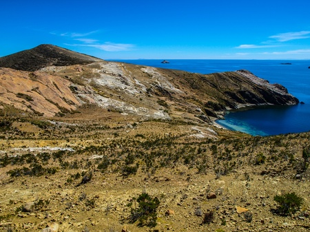 View of Titicaca lake from Island of the Sun (Bolivia) photo