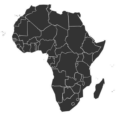 mapa de africa: Simplificado mapa pol�tico de �frica (ilustraci�n vectorial)