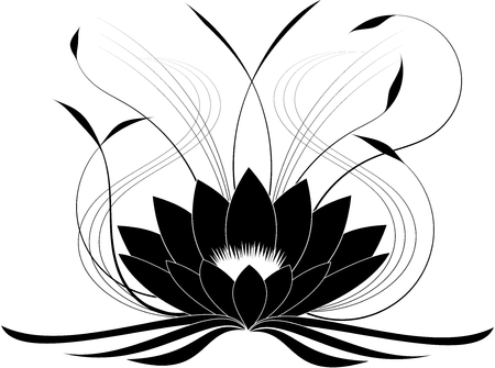 dessin fleur: Noir japonais lotus (illustration vectorielle) Illustration