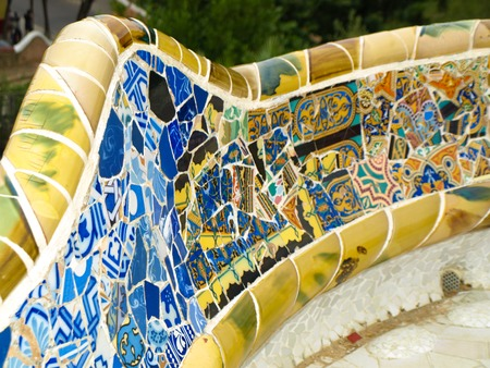 Mosaic bench in Park Güell (Barcelona, Spain)