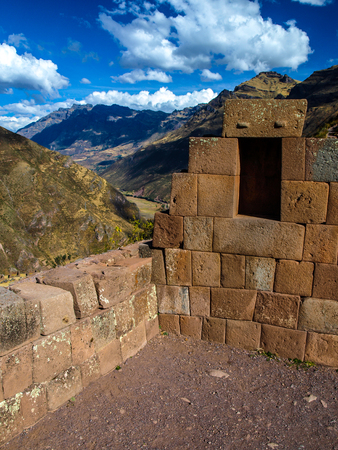 pisac: Old wall on Ruins of Pisaq (Pisac, Peru)