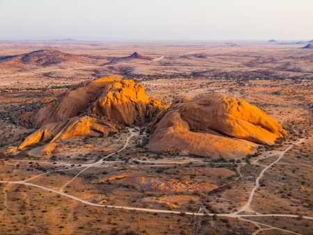 spitzkoppe: View from Pondoks on granite hills in Spitzkoppe area (Namibia) Stock Photo