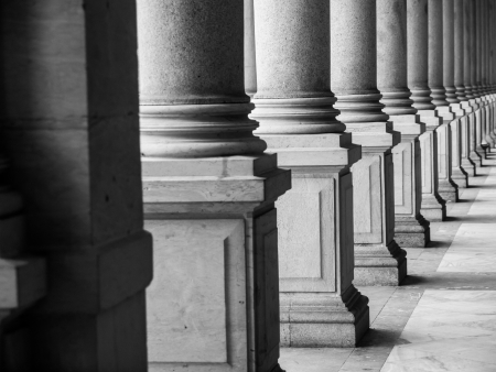 Row of columns in black and white (Karlovy Vary, Czech Republic)