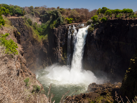 cataract falls: Devils Cataract in dry season (part of Victoria Falls) - view from Zimbabwe