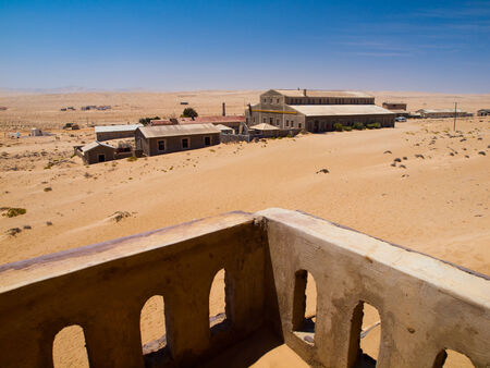 Kolmanskop ghost village - view from old balcony  Namibia  photo