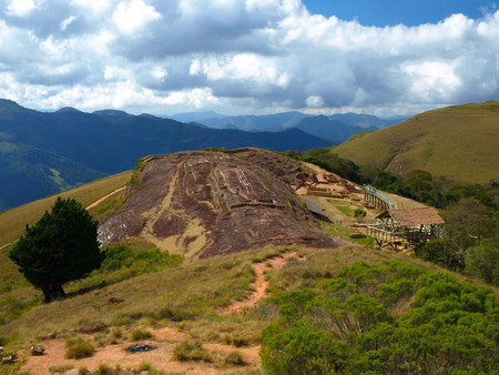 ��archeological site�: Five niches in the rock in archeological site El fuerte of Samaipata (Bolivia) Stock Photo