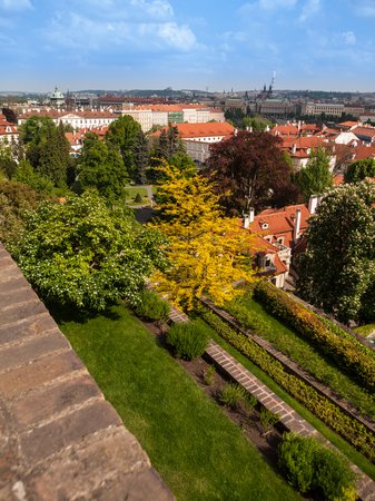 Terraces of gardens under Prague Castle in sunny day photo