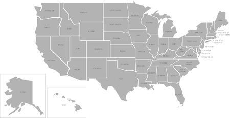 mapa: Simlified mapa vectorial de los Estados Unidos de América con nombres completos