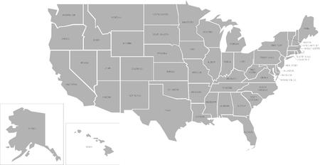 map: Simlified vector map of United States of America with full names Stock Photo