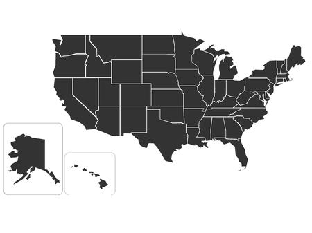 Blank simlified map of United States of America Stock Photo