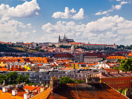 Hradcany and Prague Castle - view over rooftops from Vysehrad (Czech Republic)