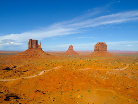 navajo land: Three Buttes of Monument Valley (Utah, USA) Stock Photo