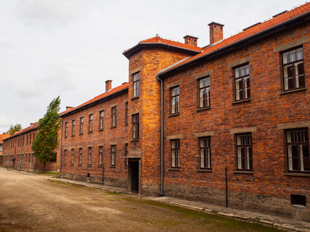 3rd ancient: Brick building Auschwitz (Oswiecim) concentration camp (Poland)