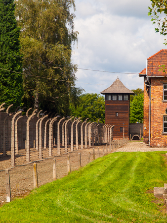 Fence and guard tower of concentration camp Auschwitz (Oswiecim)