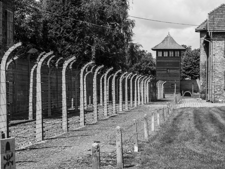 Fence and guard tower of concentration camp Auschwitz (Oswiecim). In black and white.