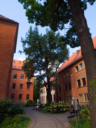 collegium: Garden of Jagellonian University in Krakow (Poland)